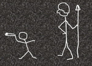 Stick figures on concrete wall